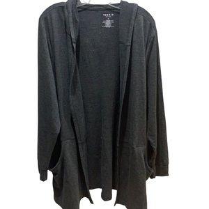 Torrid Active Charcoal Gray Open Front Hooded Cardigan Sz 3X